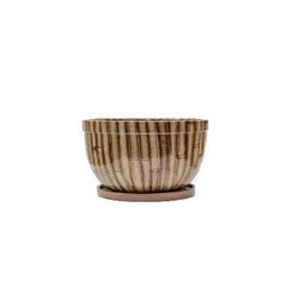 Цветник 1,5 л 57-63н, красная глина, коричневый бамбук,  h=8 d=18.5
