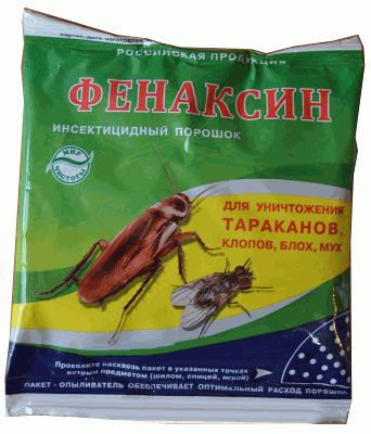 Фенаксин  для уничтожения тараканов, клопов, блох, мух 125 грамм