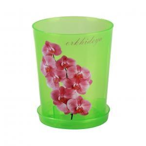 Горшок цв. для орхидеи 1,2 л. с под. зел. прозрачный (уп. 40) М1452